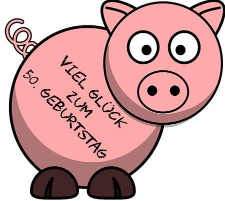 Viel Gl�ck zum 50. Geburtstag mit Gl�cksschwein