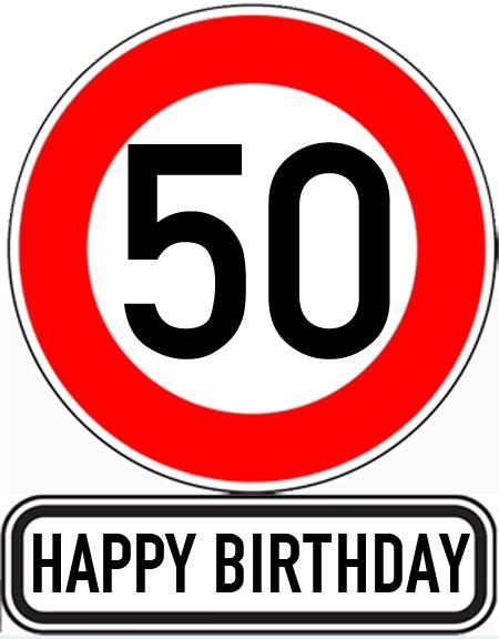 Schild mit Gl�ckw�nschen zum 50. Geburtstag